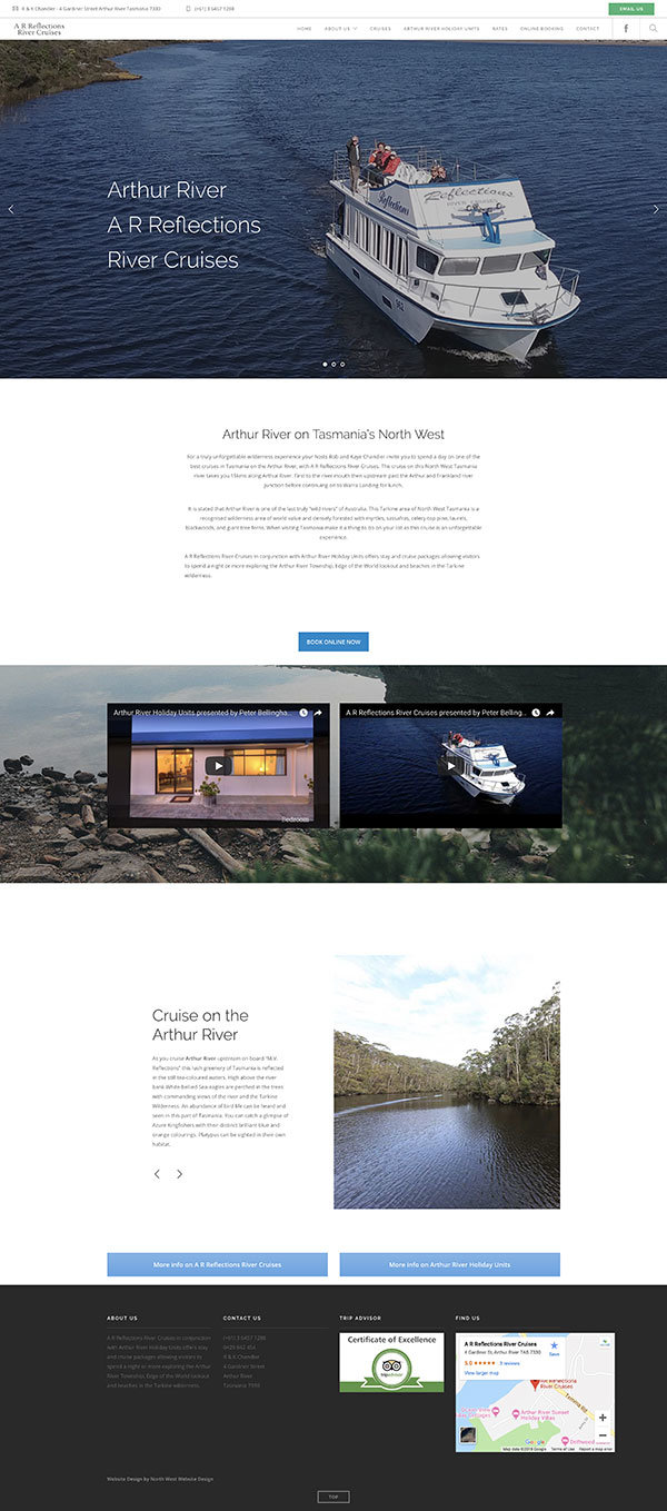Website Design - AR Reflections WordPress home page