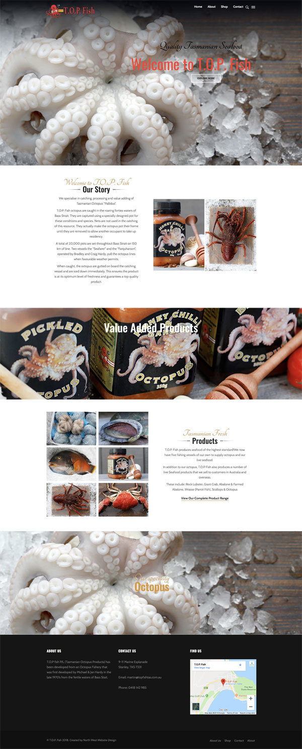 Website Design - Top Fish Tas