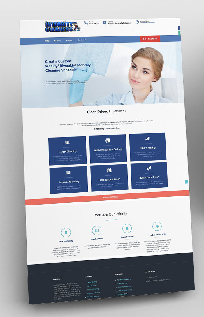 WordPress Website Design - Integrity Cleaners